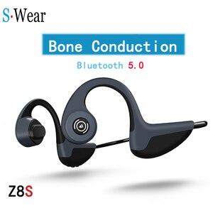 Image 1 - Bluetooth 5,0 S.Wear Z8 Беспроводные наушники с костной проводимостью наушники для спорта на открытом воздухе гарнитура с микрофоном гарнитуры громкой связи
