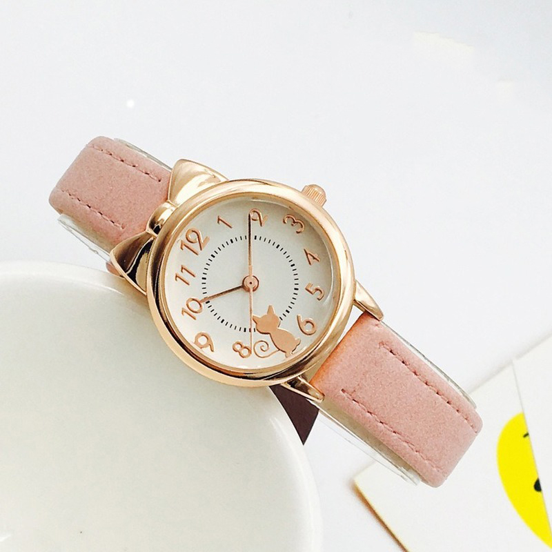 Fashion Casual Girl Watch Kids Cute Genuine Leather Strap Cat Watches Waterproof Lovely Kid Children Quartz Wristwatch Clock