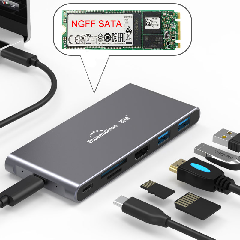 USB Type C 3.1 Splitter 3 Port USB C HUB To Multi USB 3.0 HDMI Adapter For MacBook Pro Accessories SSD Case HDD Enclosure NGFF