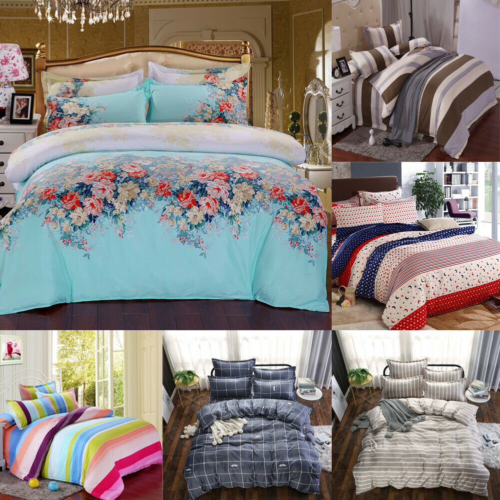 4pcs Children Adult Bed Cover Set Cartoon Duvet Geometric Printed Cover Bed Sheets And Pillowcases Comforter Bedding Set