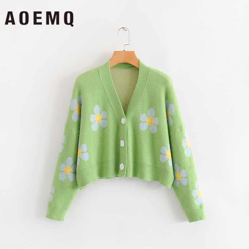Aoemq 패션 겨울 스웨터 귀여운 밝은 녹색 기호 생활 봄 스웨터 꽃 인쇄 여성 탑 크리스마스 스웨터