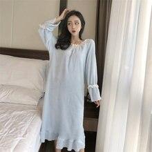 Женская длинная фланелевая ночная рубашка милая удобная и теплая