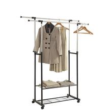 Scalable Clothes Hanger Metal Coat Rack with Wheels for Clothing Drying Rack