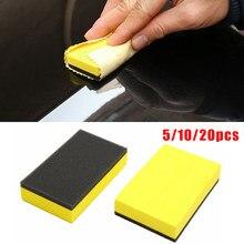 5/10/20 pces carro revestimento cerâmico eva esponja vidro nano cera revestimento aplicador almofadas amarelo 7.5x5x1.5cm acessórios de automóvel
