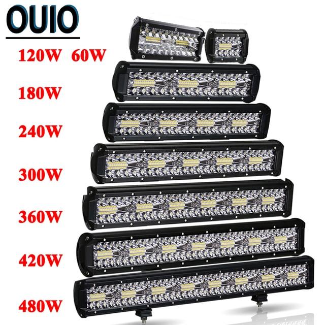 60 480W Light Bar Off Road 4x4 12V 24V Car Accessories 4 23inch LED Work Light Bar Combo Beam Driving Lamp ATV SUV UTV Trucks