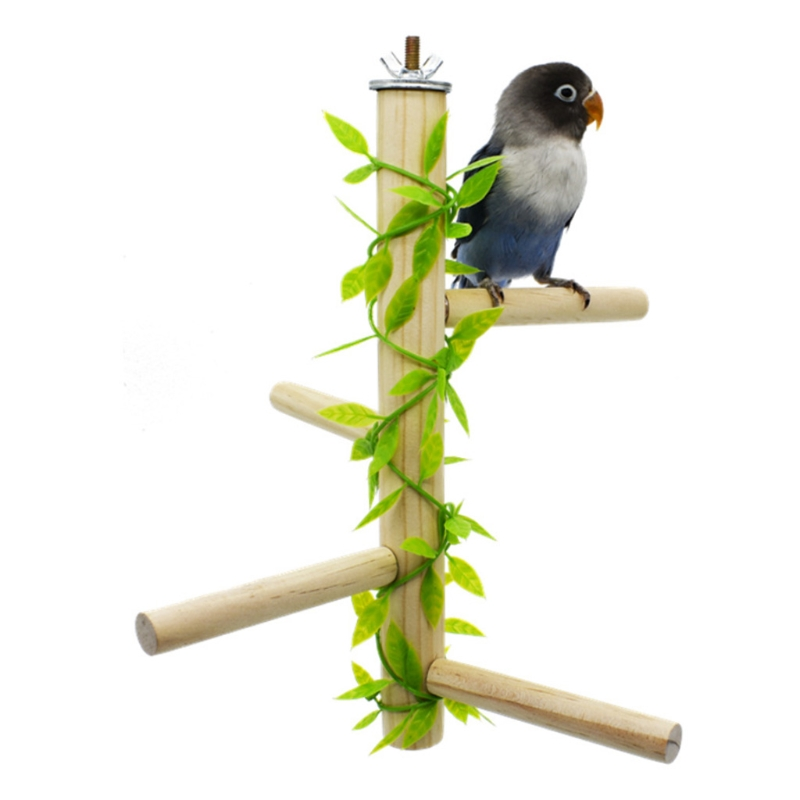 Parrot Bird Perch Nature Hard Wood Stand Toy Platform Paw Grinding Stick for Small Parakeets Cockatiels Conures