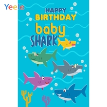 Yeele Birthday Party Decor Photocall Deep Sea Shark Photography Backdrops Personalized Photographic Backgrounds For Photo Studio