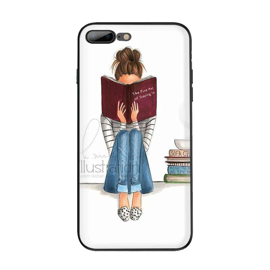 Capa para iphone 7 8 6 6s plus iphone 11 pro xr x xs max capa de luxo bonita amor vestido de compras menina bonito