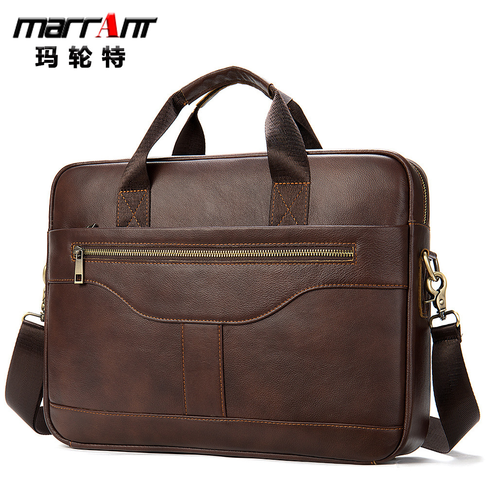Men's Shoulder Man Business Briefcase Laptop Bag 15 6 Phone Holder Key Chai Chain Organizer For Documents Leather Messenger image
