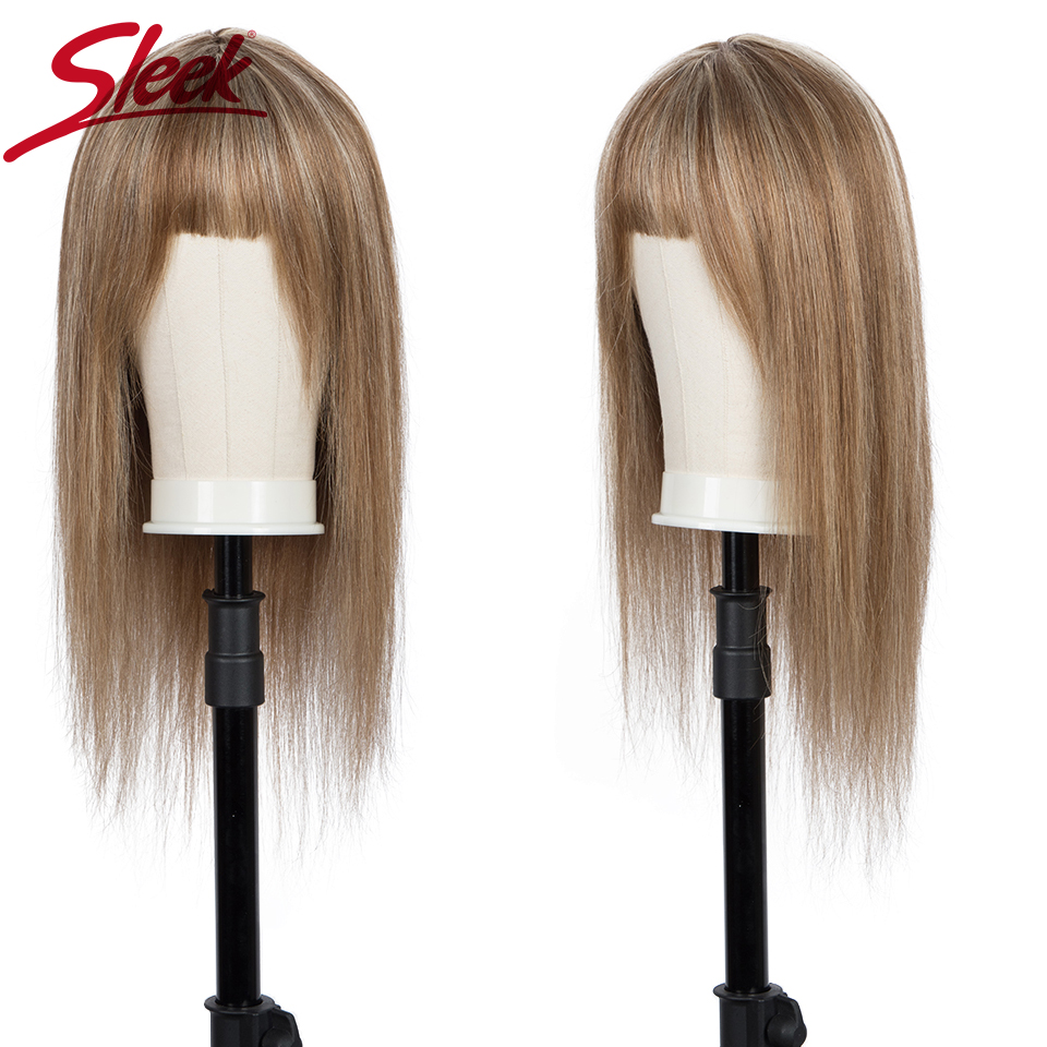 Sleek Short Human Hair Wigs Natural Brazilian Hair Wig For Women Straight Bob Wigs With Bang 30 Inch Blonde Brown Ombre Wig