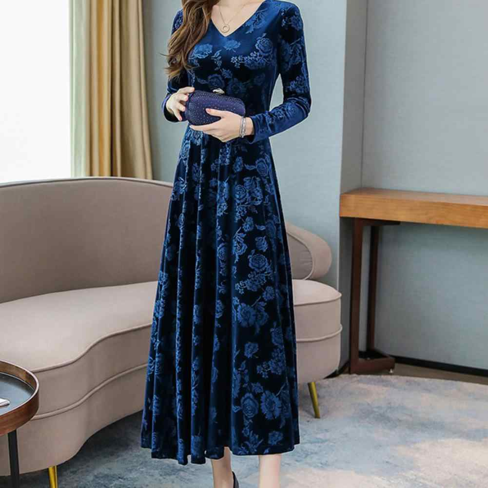 Glorystar Wanita Musim Gugur Musim Dingin Lengan Panjang Leher V Medium Dress Printing Temperamen Pesta Natal Dress Ropa Mujer 11.11