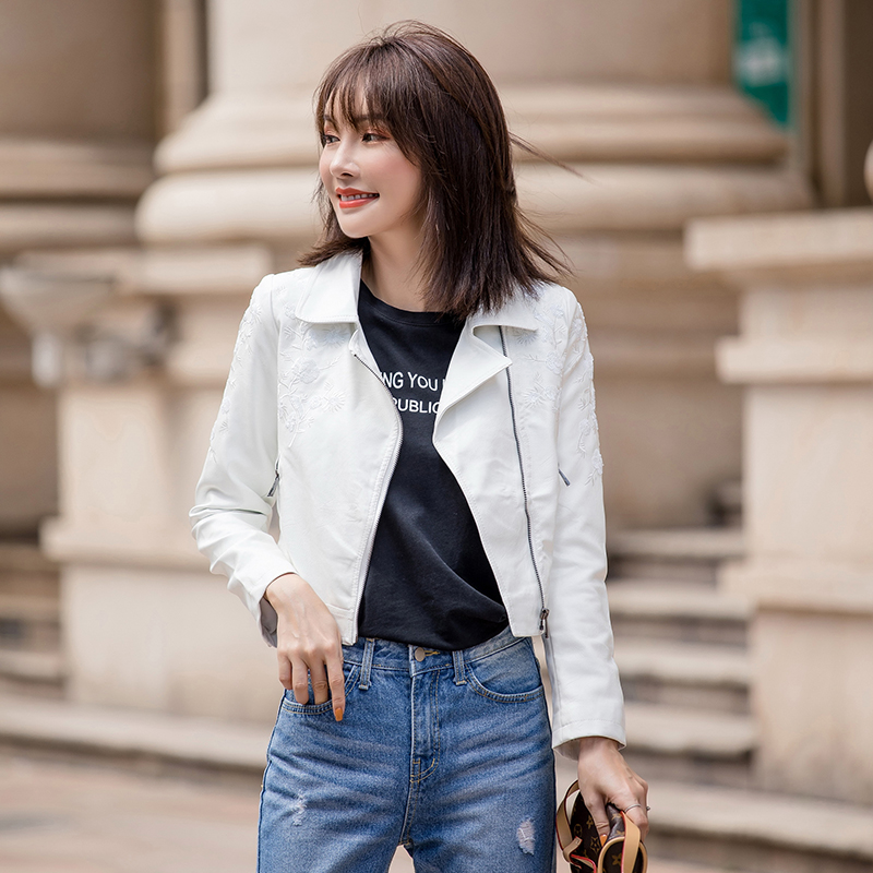 Women   Leather   Short Jackets Autumn Black & White Simple Slim Cool Lady PU Faux   Leather   Motorcycle Jacket Streetwear Hip Hop Coat