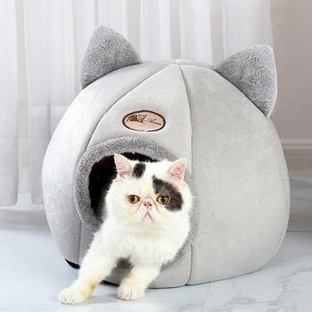 Foldable Pet Dog Cat Bed House little dogs basket for cat's house fors products pets tent cozy cave beds Indoor Pet Supplies image