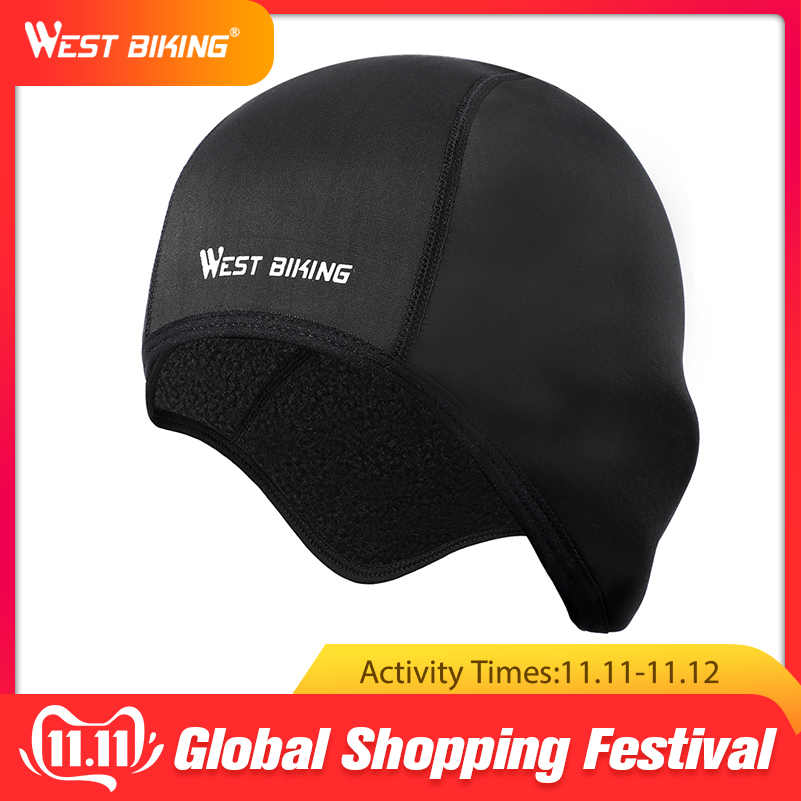 WEST BIKING Cycling Caps Winter Thermal Fleece Bicycle Windproof Warm Bike Riding Hats Outdoor Sports Running