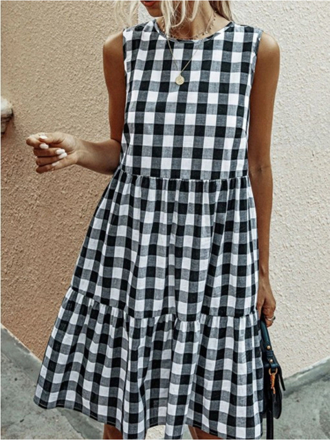 American Style Women Summer New Fashion Sleeveless Classical Simple Basic Vintage Plaid Patchwork Round Neck Casual Sweet Dress 1
