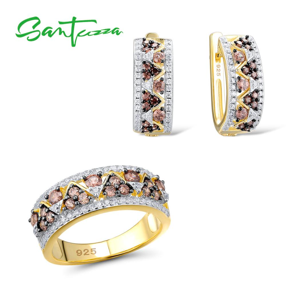 SANTUZZA Jewelry Sets For Woman Chocolate White CZ Stones Jewelry Set Earrings Ring 925 Sterling Silver Fashion Fine Jewelry