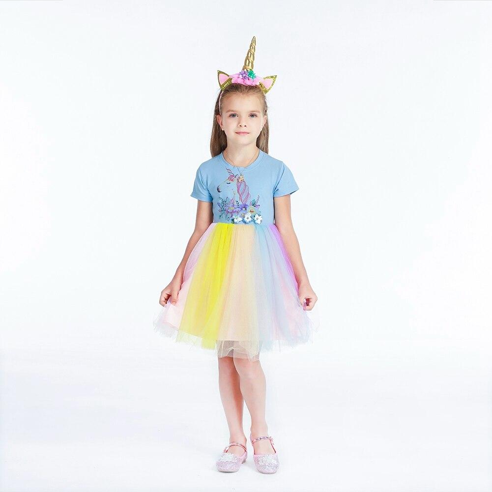 Unicorn Dresses Girls Rainbow Horse Clothes Kids Princess Dress Tutu Flower Ball Gown Vestido Children's Birthday Party Rapunzel