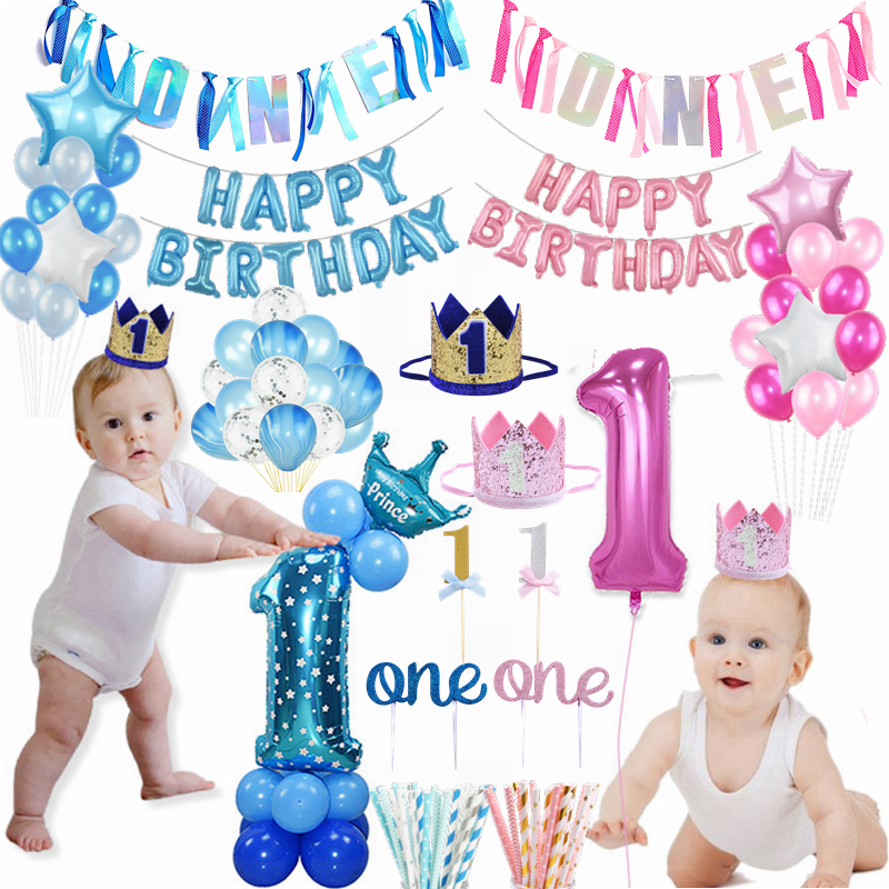 First Happy Birthday Pink Blue Balloon Banner Decoration 1st Baby Boy Girl One Year Party Cake Topper Decor Baby Shower Supplies