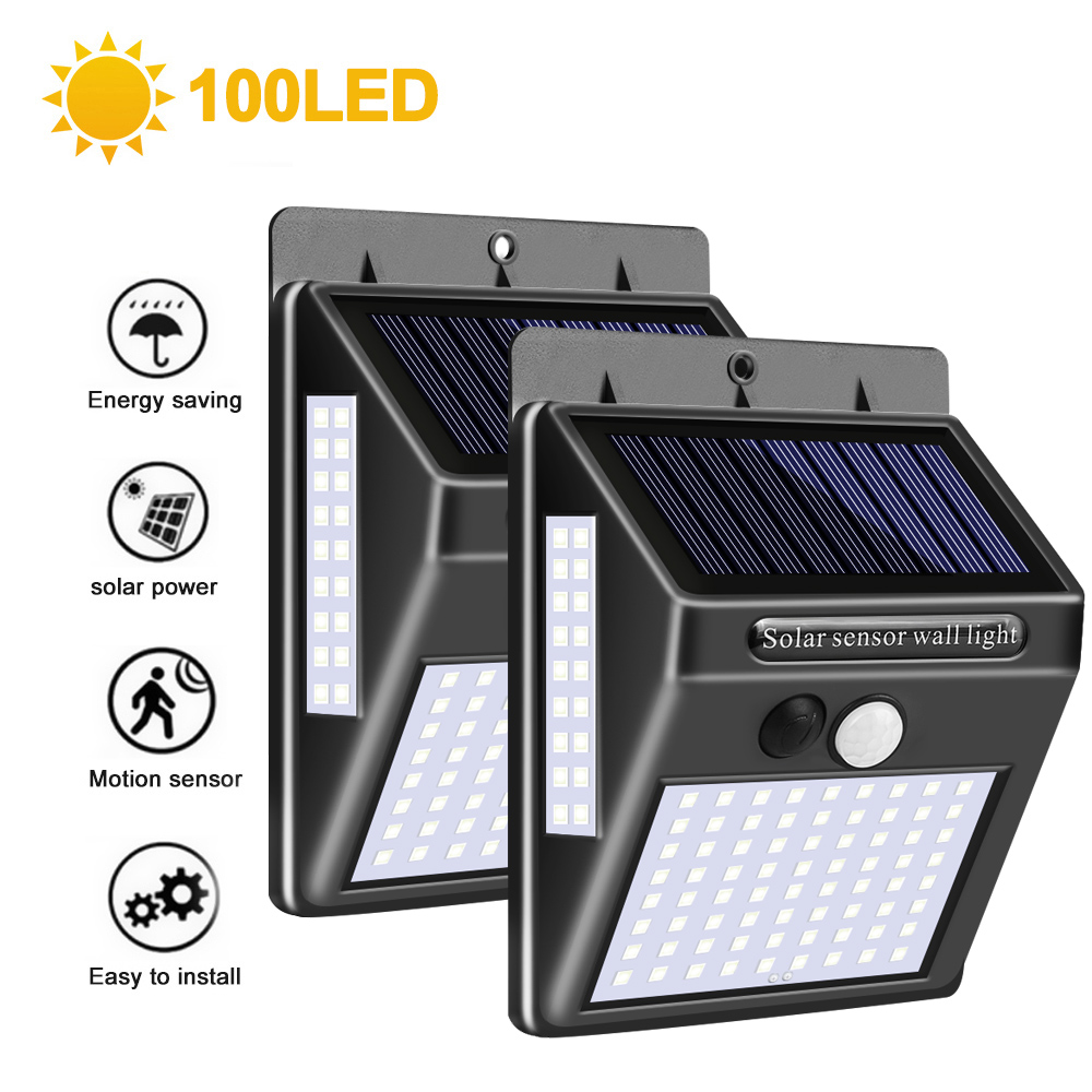 1/2/4pcs 100 LED Outdoor Solar Lamp PIR Motion Sensor Wall Light Waterproof Solar Powered Sunlight For Garden Decoration