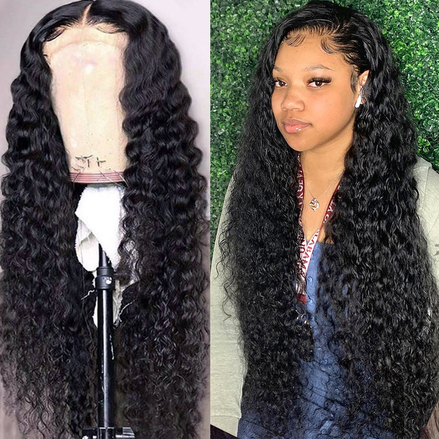 Beaudiva Curly Human Hair Wig Prepluck Deep Wave Wig 13*4 Lace Front Human Hair Wigs with Baby Hair Deep Curly Frontal Lace Wig