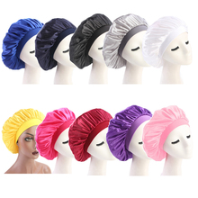 58cm Adjust Solid Satin Bonnet Hair Styling Cap Long Hair
