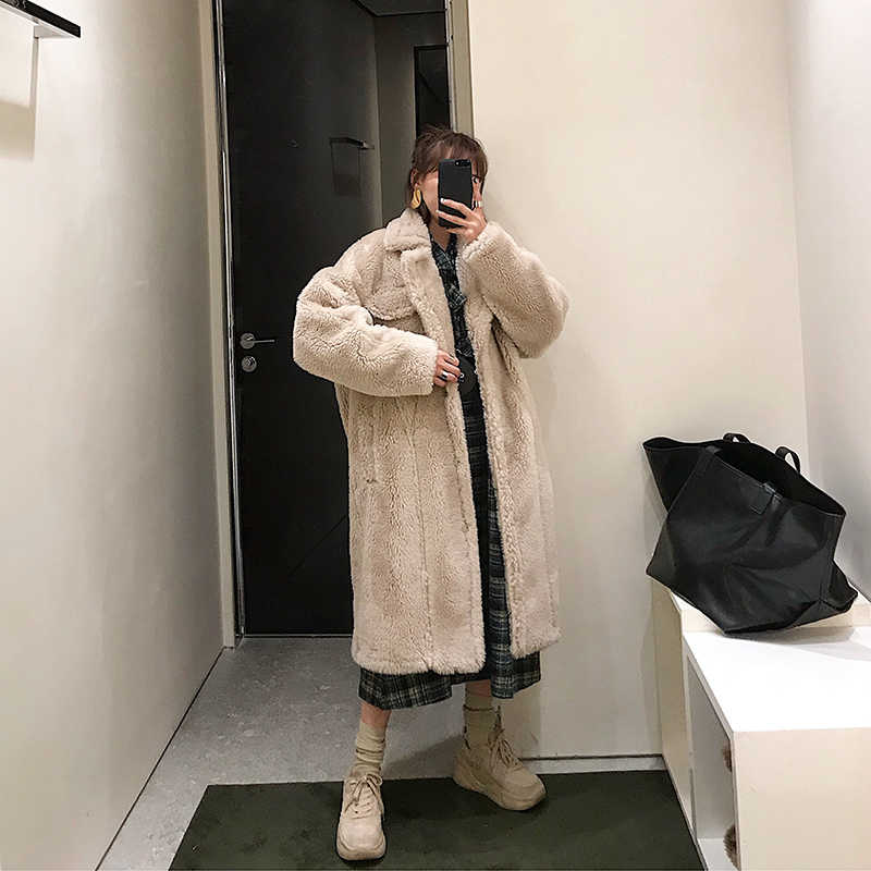 Echte Bontjas Vrouwen Vintage Winter Jas Vrouwen Koreaanse Oversize Echte Schapen Bont Jas Abrigos Mujer Invierno 2020 C18F23429 YY669