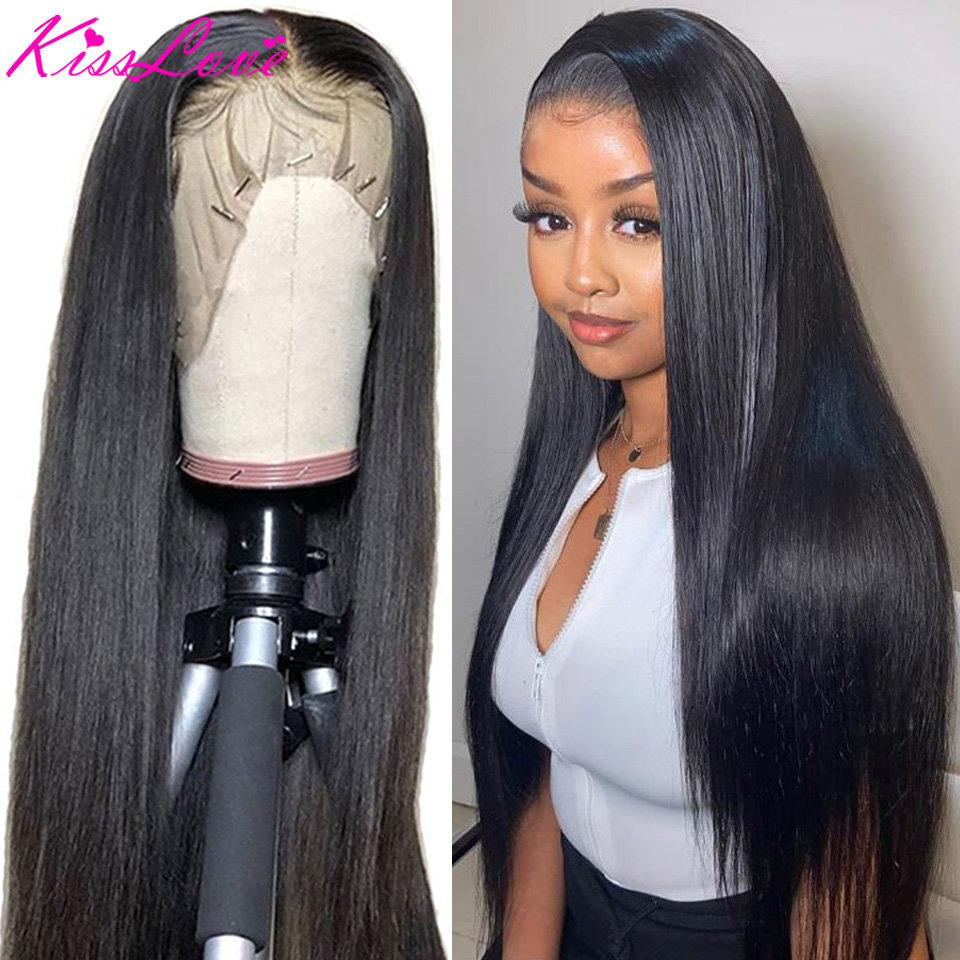 13х6 синтетические волосы на шнурках, прямые волосы 180% плотности, 13х4, волосы Remy KissLove