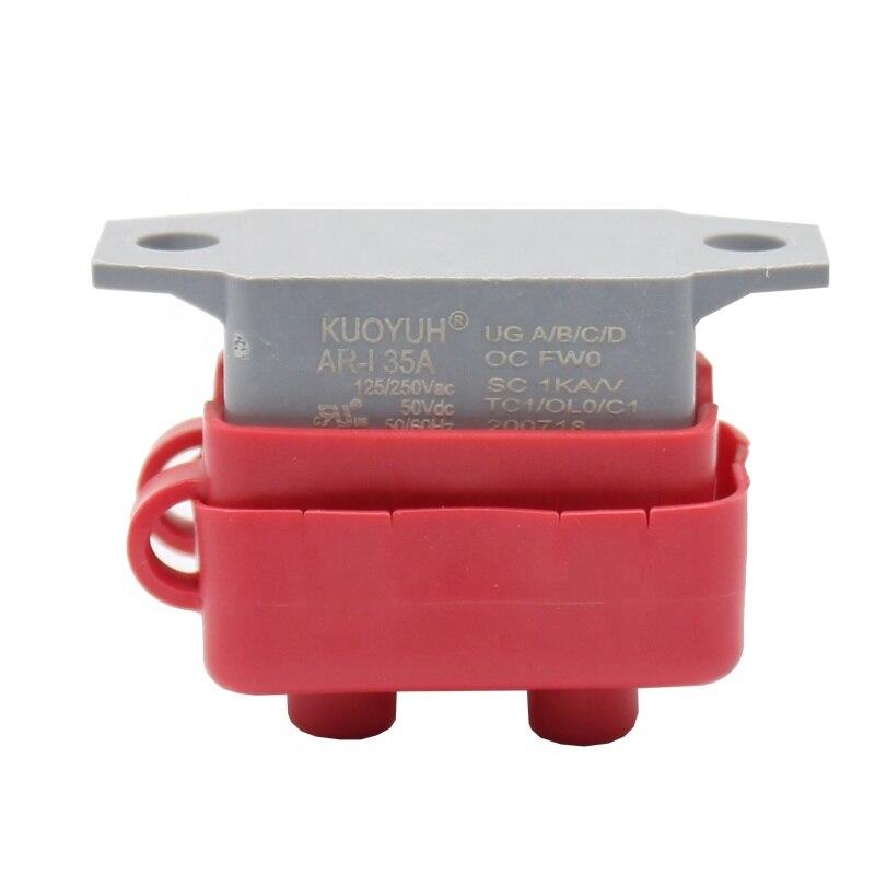 Interruptor automático de batería de reinicio para barco, 12V, 24V, 35A, con cubierta roja