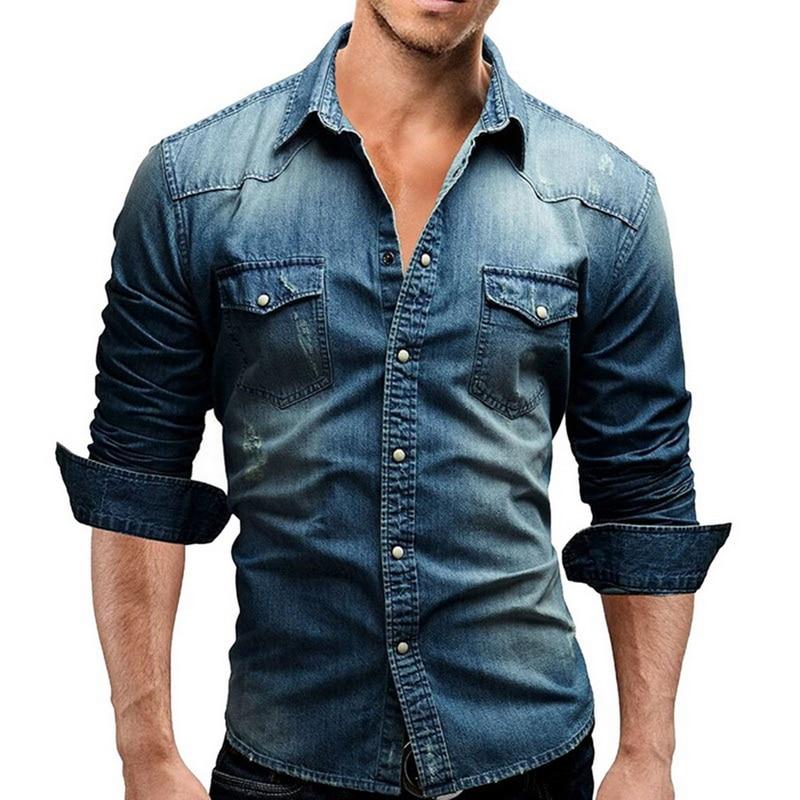 Denim Shirt Men Cotton Jeans Shirt Fashion Autumn Slim Long Sleeve Cowboy Shirt Stylish Wash Slim Tops Asian Size 3XL