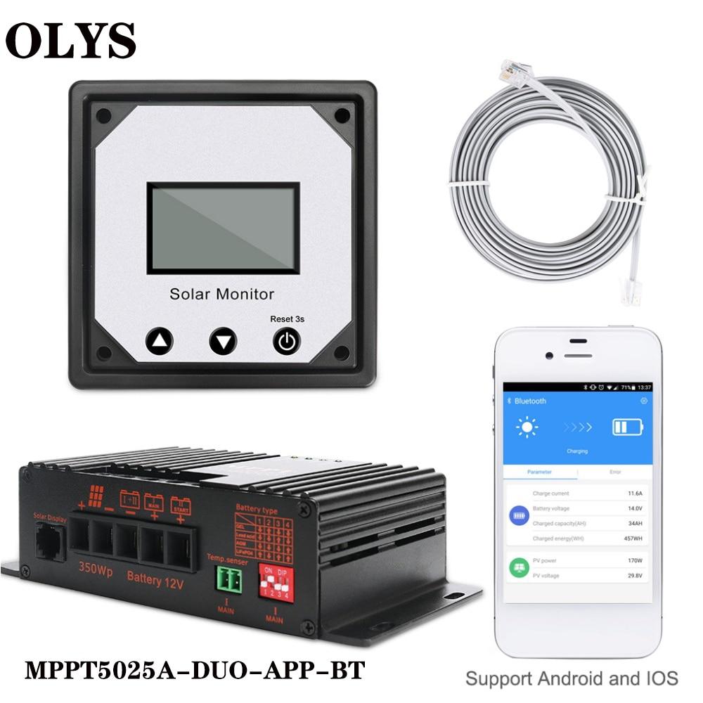 20a 12 v mppt bluetooth controlador de carga solar telefone app chumbo acido coloide agm litio