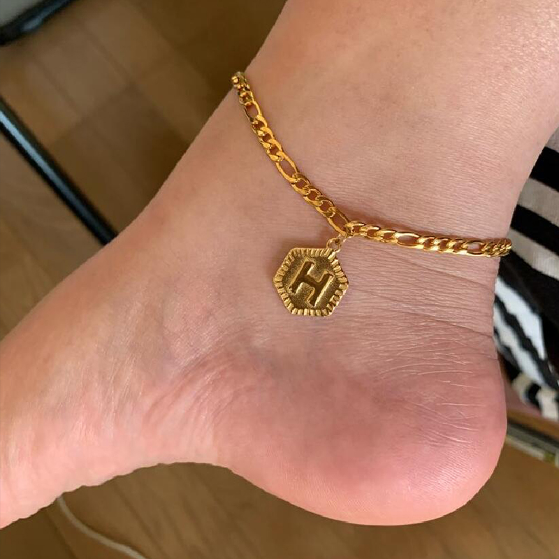 Gold Color A-Z Letter Initial Anklets Bracelets for Women Girls 26 Alphabet Ankle Leg Foot Bracelet BFF Jewelry Accesorios
