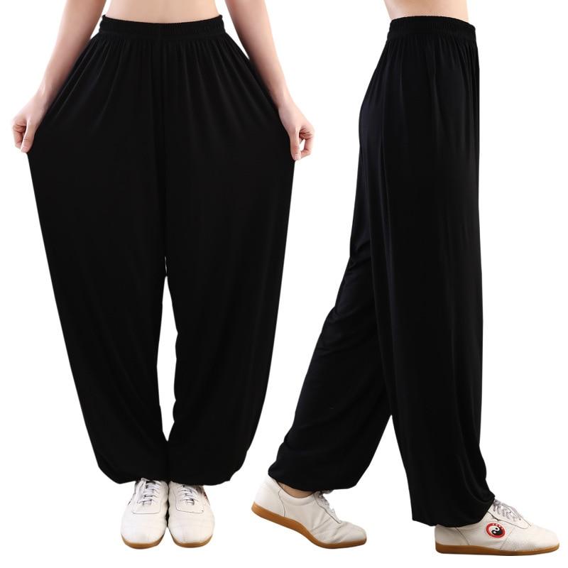Bamboo Fabric Wushu Pants Mo Gymnastic Tai Chi Deir Pants Summer Lantern Pants Women's Home Pants Large Size Loose-Fit Morning E