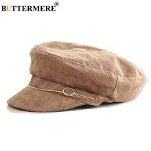 BUTTERMERE Women'S Hats For Autumn Newsboy Cap Corduroy Khaki Painter Hat Flat Ladies Solid Casual Classic Baker Boy Cap Black