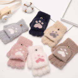 1Pair Women Girls Lovely Winter Warm Fingerless Gloves Fluffy Bear Cat Plush Paw Claw Half Finger Gloves Warm Soft Plush Mitten