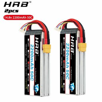 2PCS HRB 4S LiPo Battery 14.8V 2200mAh Lipo 50C for RC fpv drone frame Deans Plug XT60 Connector For RC Helicopter Boat Airplane