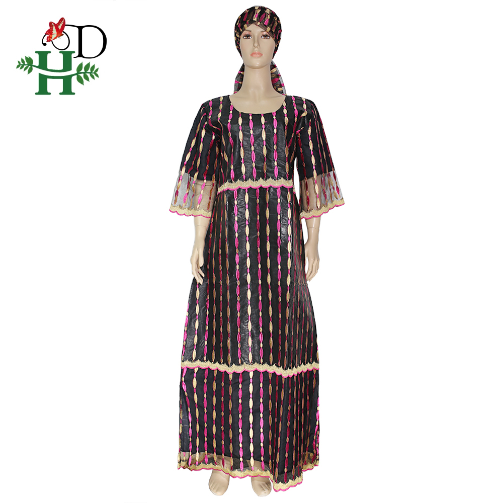 H&D South Africa Women Dresses Bazin Riche Dashiki Clothes Large Size Lace Dress Ladies Ankara Dresses African Outfit For Woman