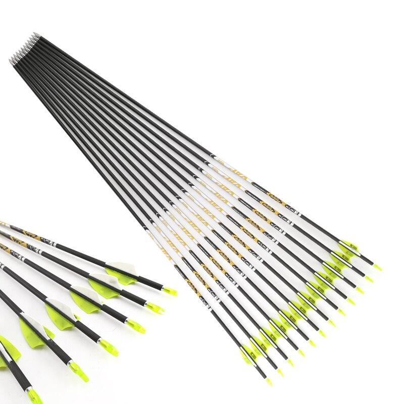 Tir à l'arc pur carbone flèches V1 ID4.2mm Spine600 700 800 1.75 pouces palettes en plastique 80gr conseils pour arc classique tir à l'arc long 6/12 pièces