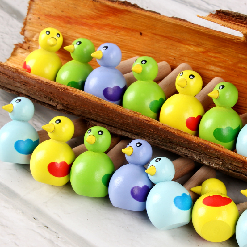 4Pcs/ Lot Colorful Baby Cartoon Wood Bird Whistle Musical Instrument Toys Kids Early Educational Toys Children Gift Toy