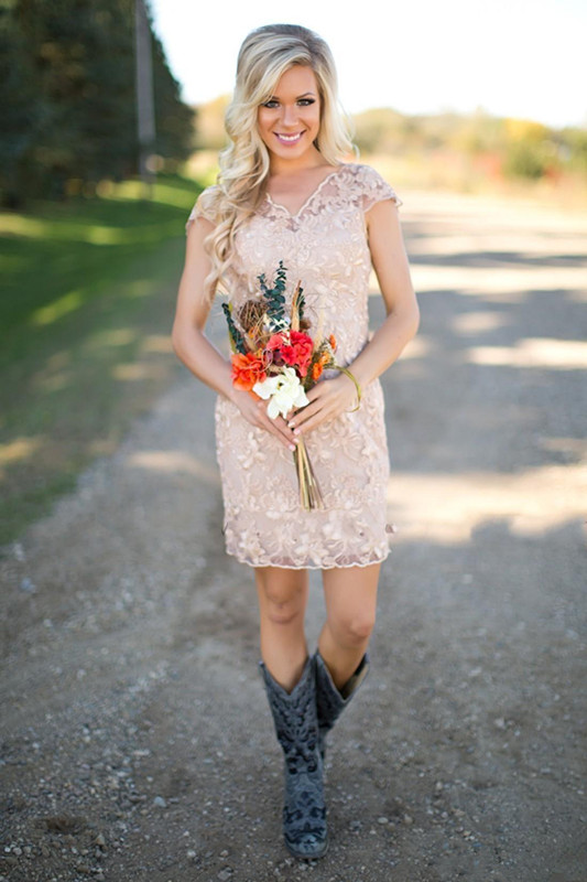 2019 Cheap Country Bridesmaid Dresses V Neck Full Lace Short Sleeves Champagne Beach Wedding Guest Wear Party Dresses Maid