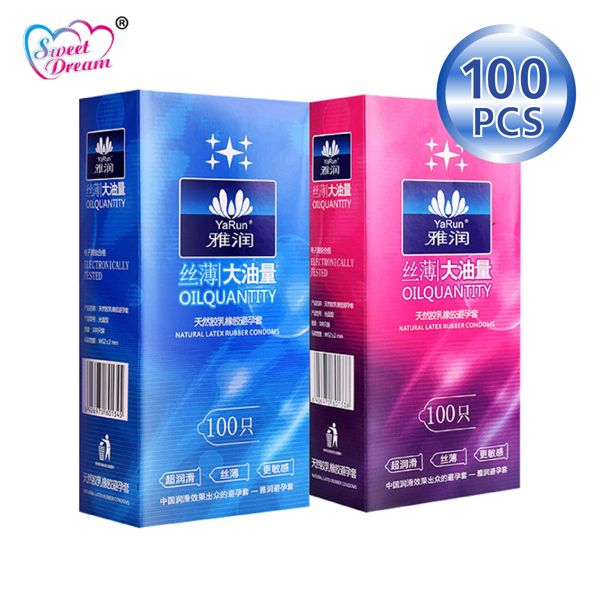 Sweet Dream Life Condoms 100 Pcs/Lot Natural Latex Smooth Lubricated Contraception Condoms For Men Sex Toys Sex Products LF-011
