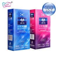 Condones Sweet Dream Life 100 unids/lote de látex Natural suave lubricado condones anticonceptivos para hombres juguetes sexuales productos sexuales LF-011