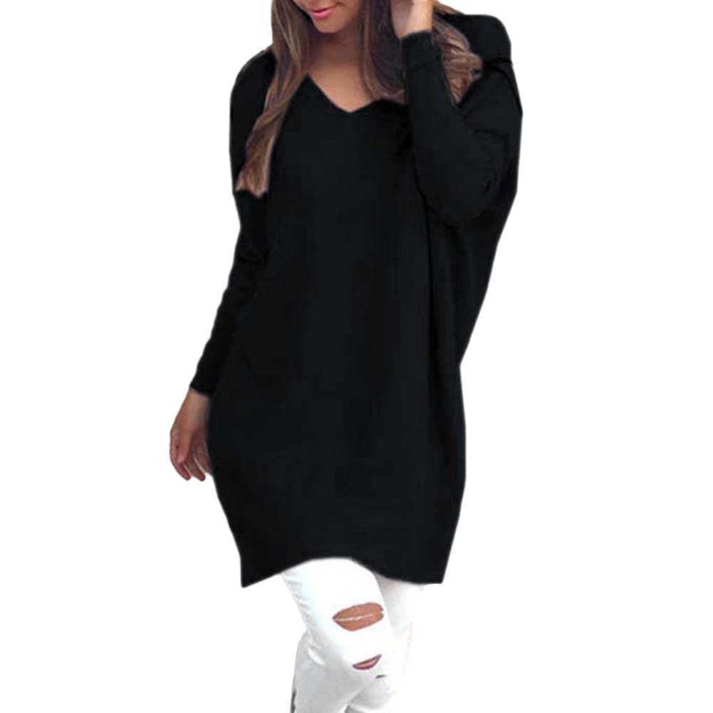 Camisola da forma Das Mulheres V Neck Manga Comprida Túnica Pulôver Blusas Casuais Solta Camisola de Malha Cor Sólida Camisola das Mulheres свитер