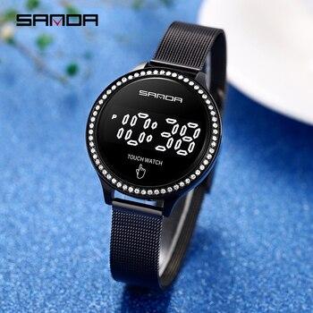 SANDA New  Fashion Women LED Light Touch Screen Digital Watches Waterproof Wristwatches Female Clock Relogio Feminino 8006