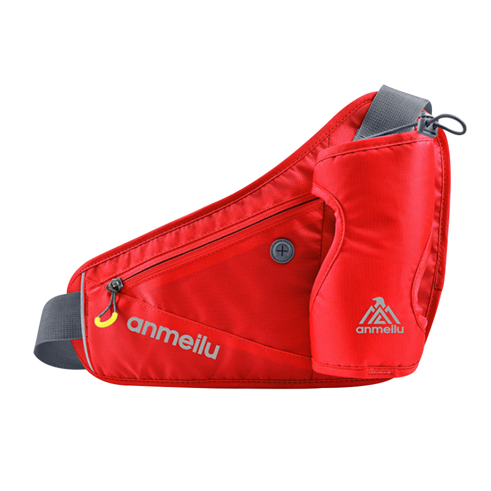 Unisex Water Bottle Holder Waist Bag Outdoor Sports Pocket Adjustable Buckle Hiking With Reflective Strip Multifunction Zipper