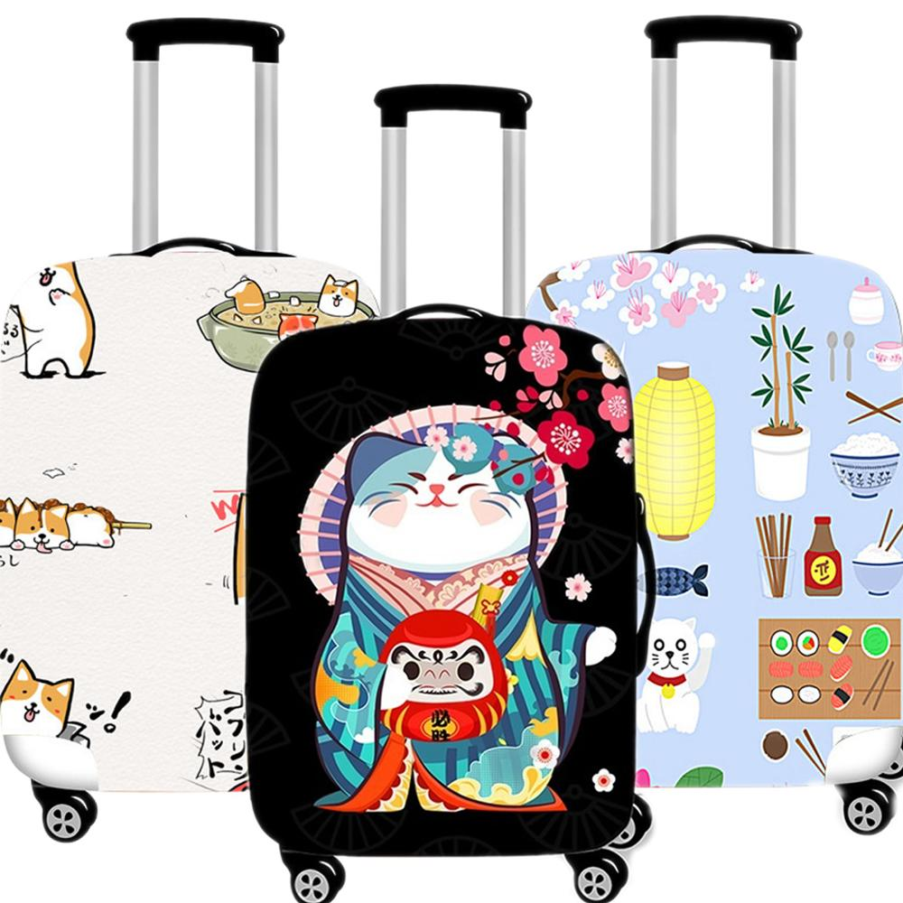 Kawaii Cat Luggage Case Protective Cover Creative Waterproof Thicken Elastic Suitcase Case Apply 18-32 Inch XL Travel Accessorie