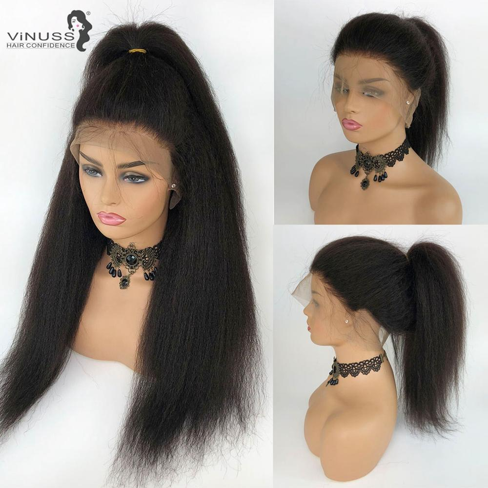 Full Lace Human Hair Wigs Kinky Straight 150% Density With Baby Hair Brazilian Human Hair Wig Pre Plucked Hairline Remy Hair