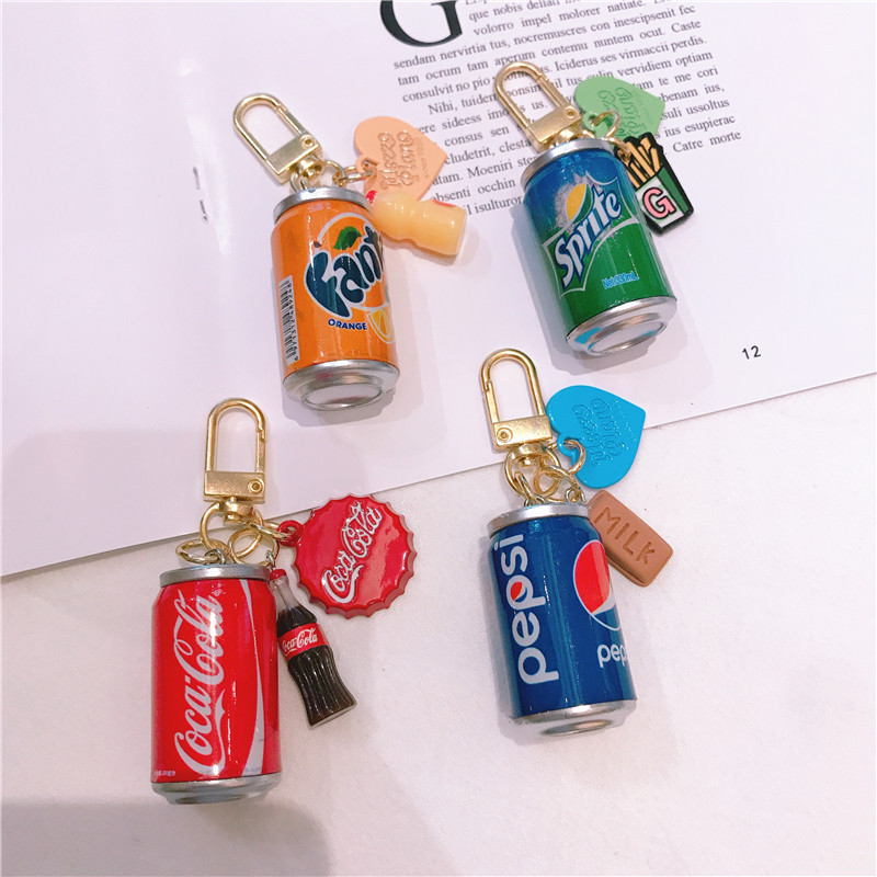 Creative Drinks Can Key Chain Simulation Cola Fanta Can Keychains For Men Women Car Bags Pendant Key Ring Key Holder Gifts