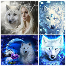 DIY 5D Full Diamond Painting White Wolf Cross Stitch Paint Diamond Embroidery Needlework Patterns Rhinestone kits diy 5d full diamond painting cross stitch painting wolf diamond embroidery needlework patterns rhinestone kits