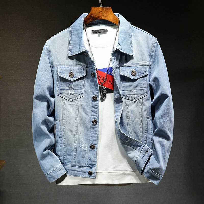 In The Autumn Of 2019 The New Denim Jacket Man Cat Claw Light Blue Denim Jacket