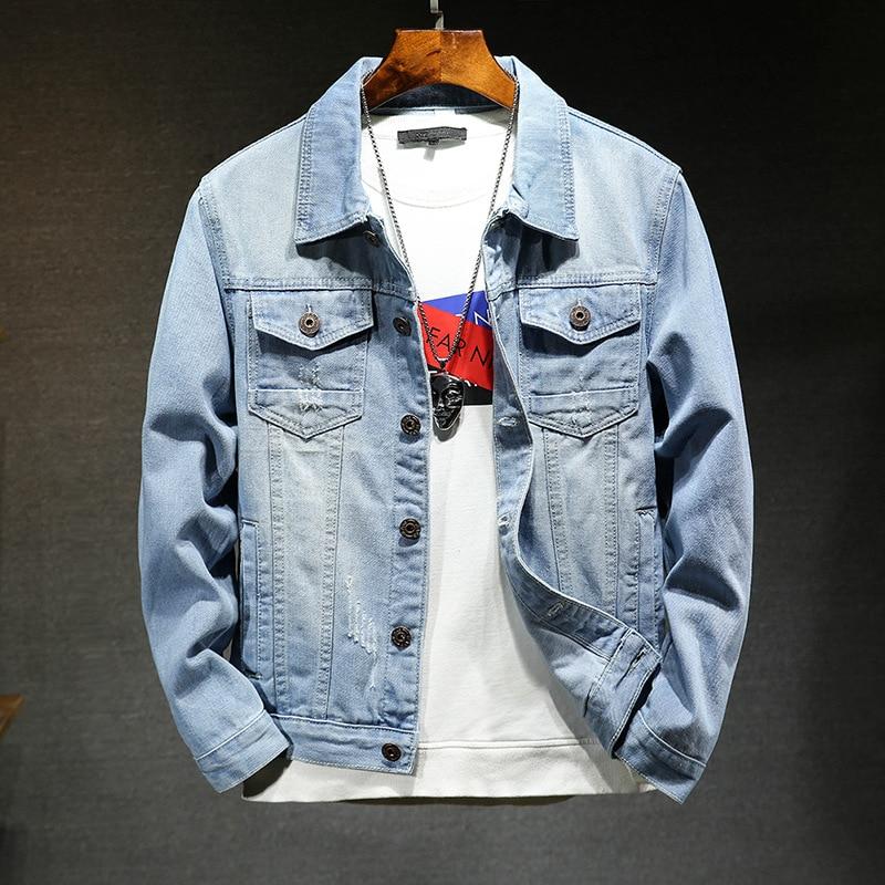 In The Autumn Of 2019 The New Denim Jacket Man Cat Claw Light Blue Denim Jacket